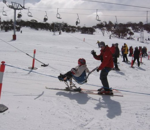 Kate's first time ever in a sit ski with Paul at Perisher PHOTO: Heather Swain