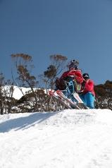 Kenton & Kate riding jumps at Thredbo PHOTO: Alister Buckingham