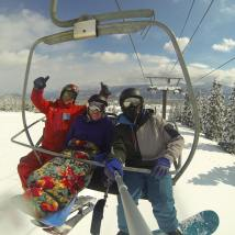 Charlie, Kate & Michael getting a chairlift selfie in Myoko