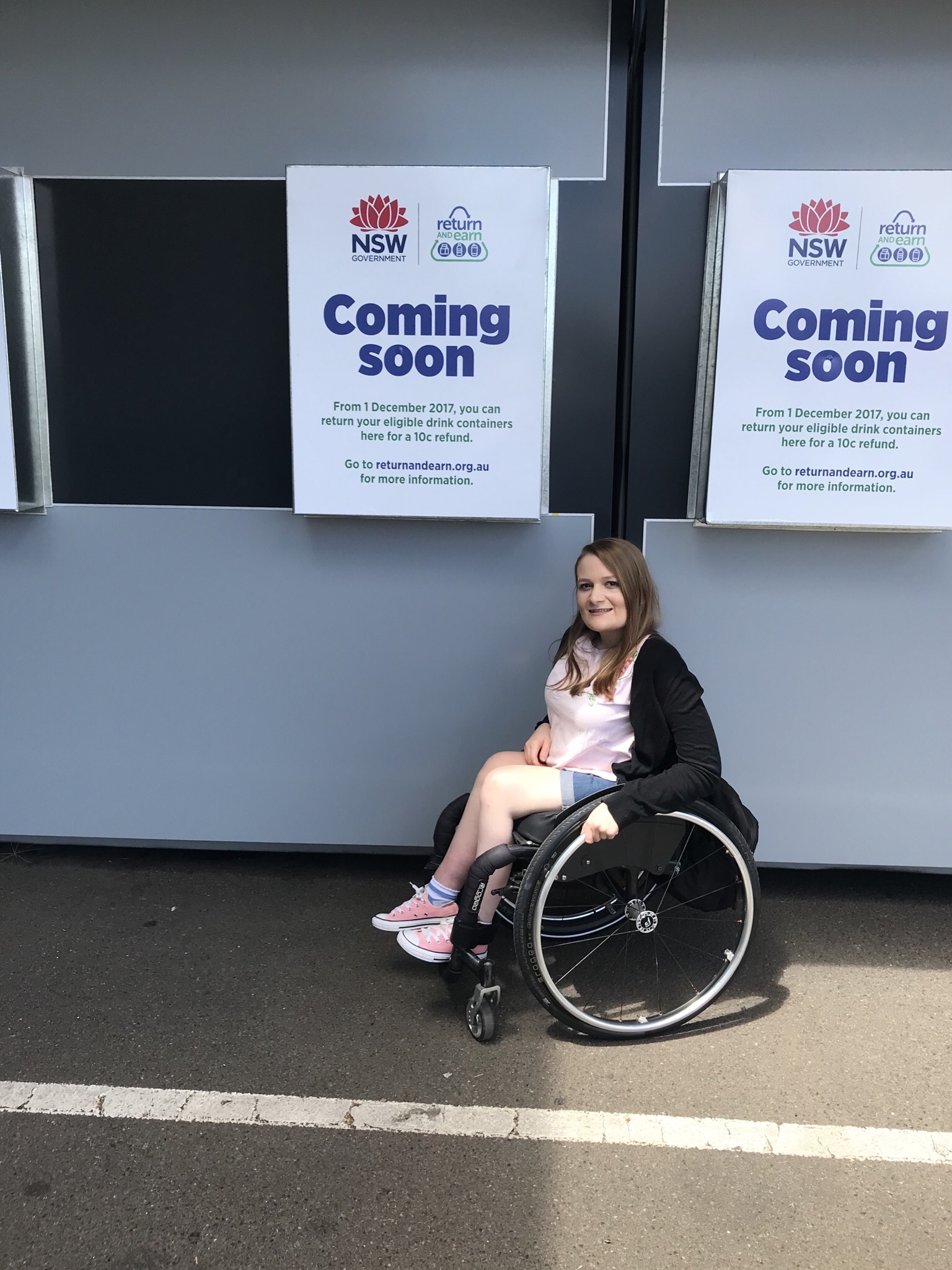 Kate pictured with the Return and Earn reverse vending machine PICTURE: Heather Swain
