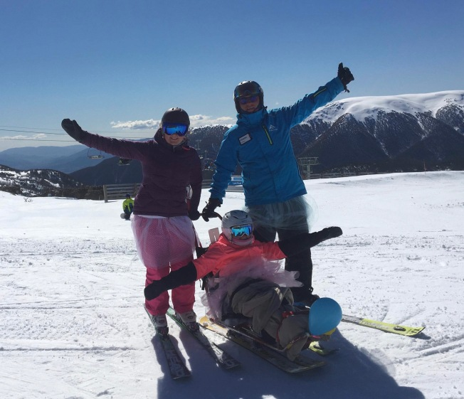 So much fun skiing in tutus PHOTO: friendly skiing instructor
