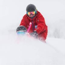Kate and Myoko Snowsports Instructor Charlie Evans PHOTO: David Churchill